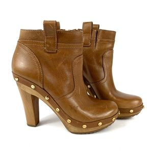 Tory Burch Ginevra Leather Platform Ankle Boot